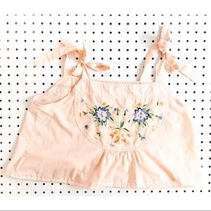Vintage tie embroidered top, peach crop top,